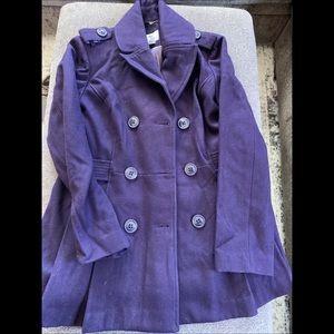Purple pleated pea coat